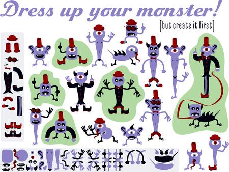 lengua larga: Viste a tu monstruo Conjunto de diversos monstruos dise�ados como kit de construcci�n
