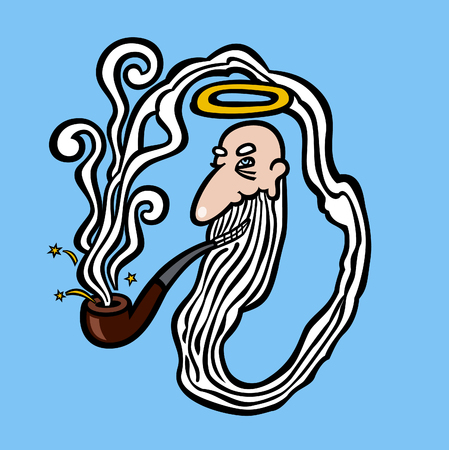 almighty: God creating himself from the smoke from his pipe