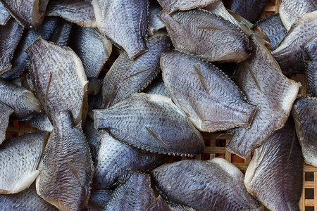 kipper: Dried Fish was sold in the bazaar. Stock Photo