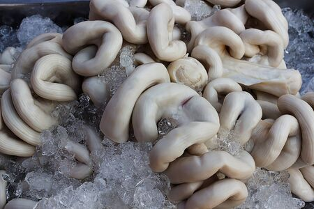 chitterlings: Chitterlings frozen ice in fresh market