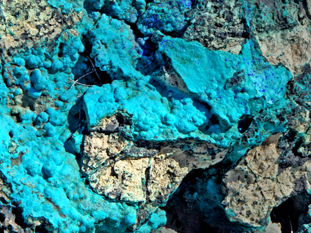 A natural abstract of blue chrysocolla turquoise rock.