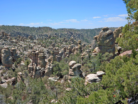 Giant rock columns in Chiricahua National Monument in southeast Arizona. Imagens