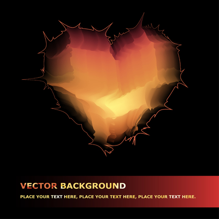 caustic: Vector background with fiery heart for your design