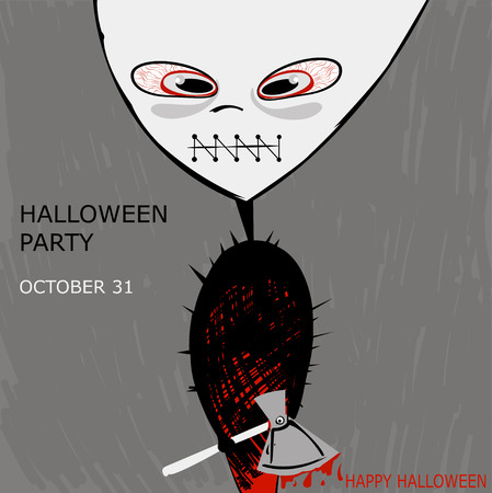 Abstract illustration of a monster with an ax on Halloween  The modern poster on the halloween party  Vector  Vector