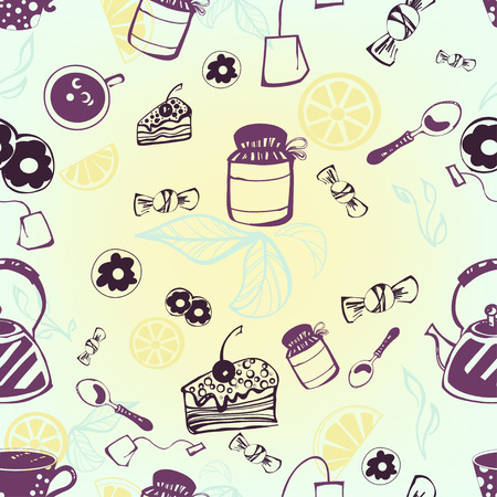 Seamless pattern with tea, tea bag, cake and candy. Vector. Illustration