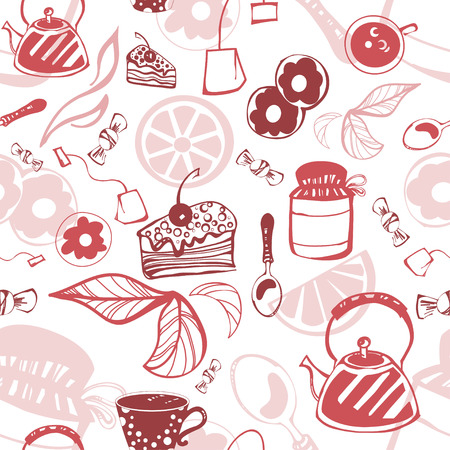arousing: Delicate seamless pattern with sweets and tea. Vector. Illustration