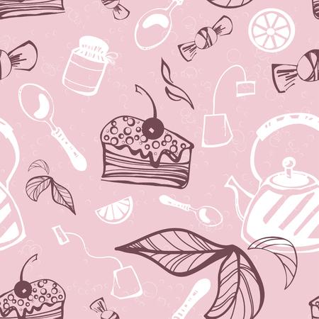 arousing: Beautiful seamless pattern with cake, candy, jam, tea, tea bag, spoon and lemon. Vector. Illustration