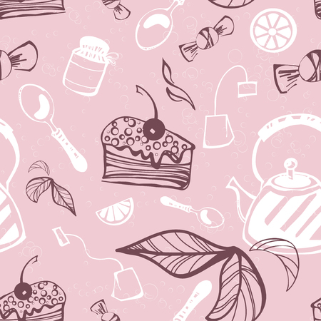Beautiful seamless pattern with cake, candy, jam, tea, tea bag, spoon and lemon. Vector. Illustration