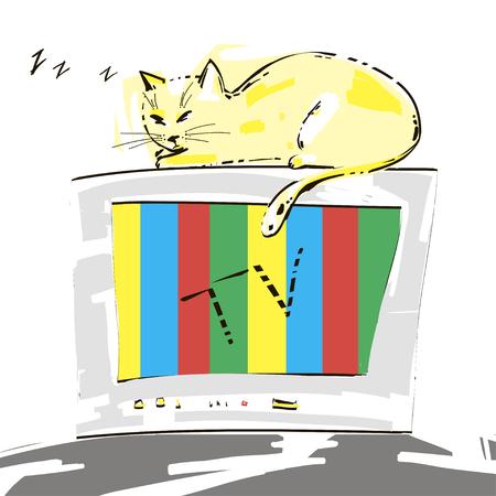 cat sleeping: Cute cat sleeping on the TV. Vector. Illustration
