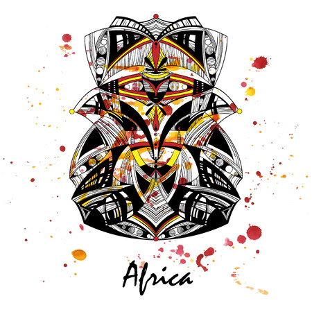 Illustration of an African mask on a watercolor background. Vector. Ilustração