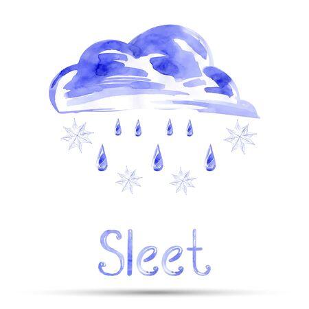 sleet: Watercolor illustration of sleet. Vector. Illustration