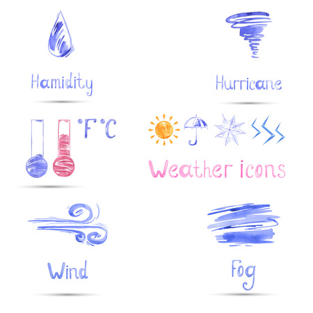 prognosis: Watercolor set of weather icons. Vector. Illustration