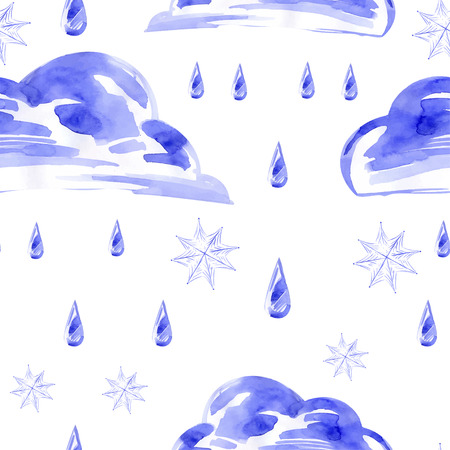 sleet: Watercolor seamless pattern with rain and snow. Vector.