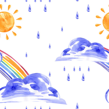 Watercolor seamless pattern with rainbow, sun and rain. Vector. Imagens - 55302039