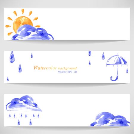 sun umbrella: Watercolor background with sun umbrella, cloud and rain. Vector.