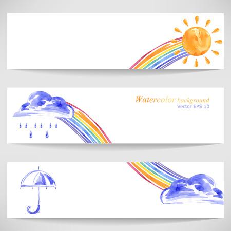 sun umbrella: Watercolor background with sun umbrella, clouds, rain and rainbow.Vector.