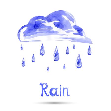 sleet: Watercolor illustration of rain and cloud. Vector.
