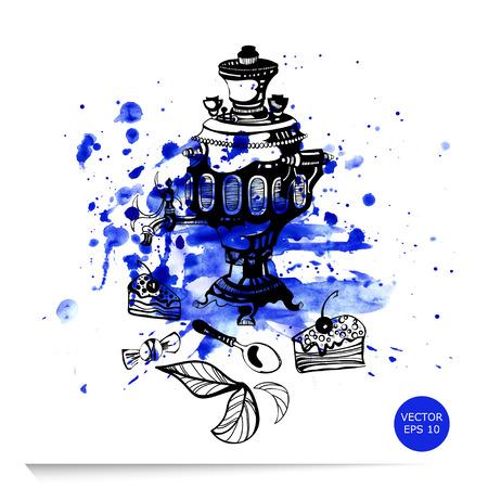 samovar: Vector abstract illustration of samovar on a white background Illustration