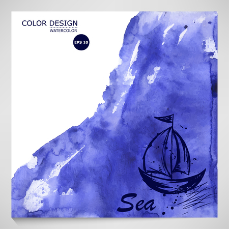 Vector Abstract blue watercolor background. The sea and the journey.