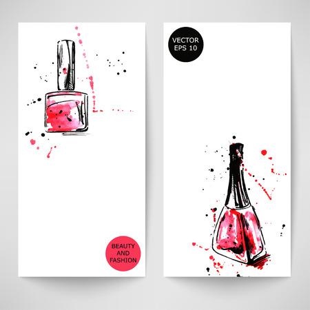 Watercolor abstract vector banner with nail polish. Fashion illustration. Illustration