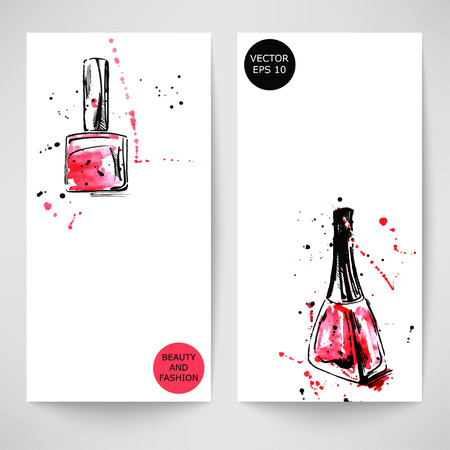Watercolor abstract vector banner with nail polish. Fashion illustration.