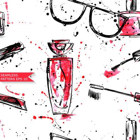 eau de perfume: Watercolor vector seamless pattern. Beauty and Fashion Illustration
