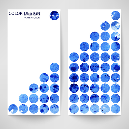 Watercolor blue abstract vector banner. Illustration