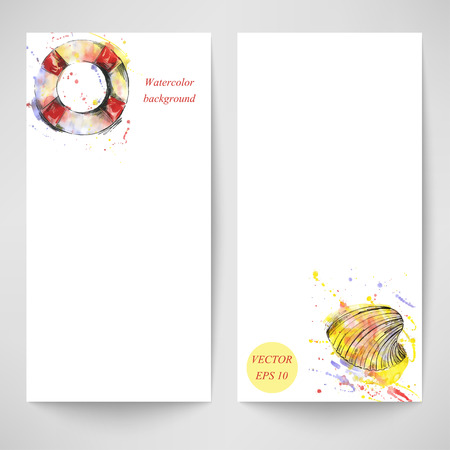 lifeline: Watercolor abstract vector banner with a lifeline and a sea shell. Summer and travel Illustration