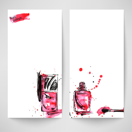 Watercolor abstract vector banner with nail polish. Beauty and fashion.