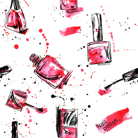 Watercolor vector seamless pattern with nail polish. Beauty and Fashion