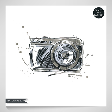 Watercolor illustration of a camera. Summer and travel