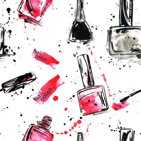 Vector aquarel naadloze patroon met nagellak. Beauty en Fashion