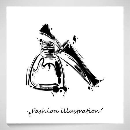 Vector illustration of nail polish. Fashion illustration. Beauty and fashion.