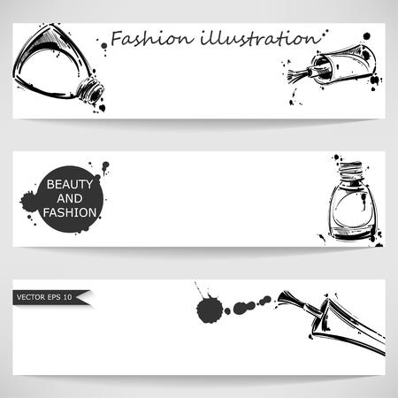 nail polish: Vector illustration of nail polish. Fashion illustration. Beauty and fashion. Illustration