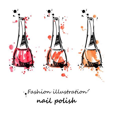 Vector illustratie van nagellak. Mode-illustratie. Schoonheid en mode. Waterverf.