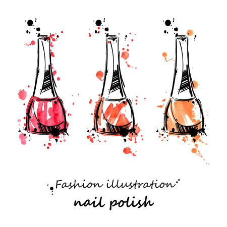 manicure pink: Vector illustration of nail polish. Fashion illustration. Beauty and fashion. Watercolor.