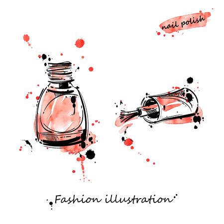Illustrazione vettoriale di smalto. Illustrazione di moda. Bellezza e moda. Acquerello.