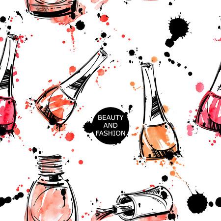 Vector abstracte achtergrond met nagellak. Watercolor naadloos patroon. Mode-illustratie. Schoonheid en mode.