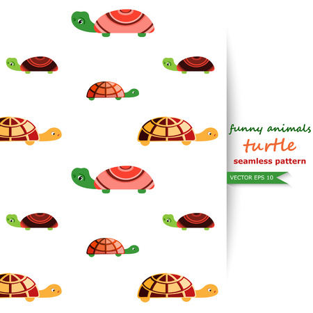 nappies: Vector seamless background with turtles. Funny animals.