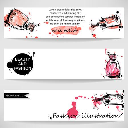 Vector abstracte banner met nagellak. Schoonheid en mode. Waterverf.