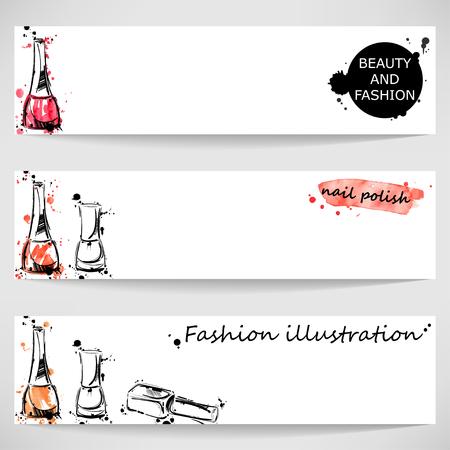 nails art: Vector abstract banner with nail polish. Beauty and fashion. Watercolor.