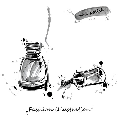 Watercolor vector illustration of nail polish. Fashion illustration. Beauty saloon. Women's cosmetics. Manicure and makeup. Vetores