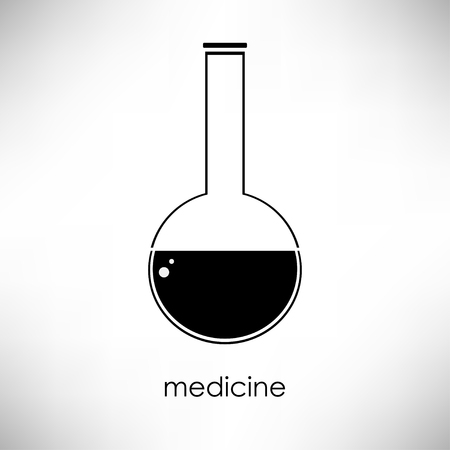 absract art: Flat linear beaker icon. Isolate on white background. Medicsine and science. Chemistry and biology. Flask.