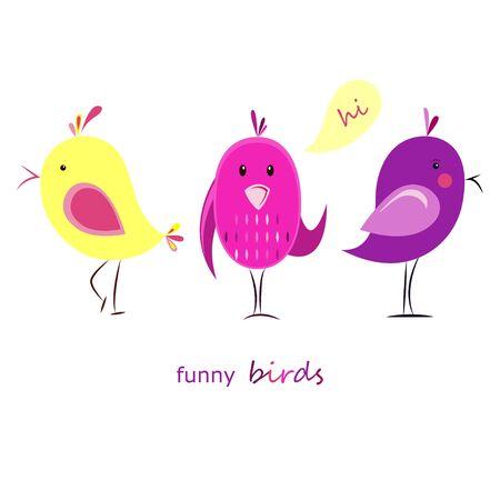 Vector abstracte illustratie op een witte achtergrond. Stel grappige vogels. Vlakke stijl. Grappige dieren.