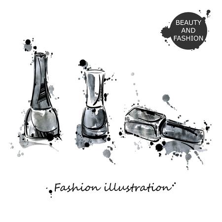 illustration of nail polish. Fashion illustration. Beauty and fashion. Watercolor.