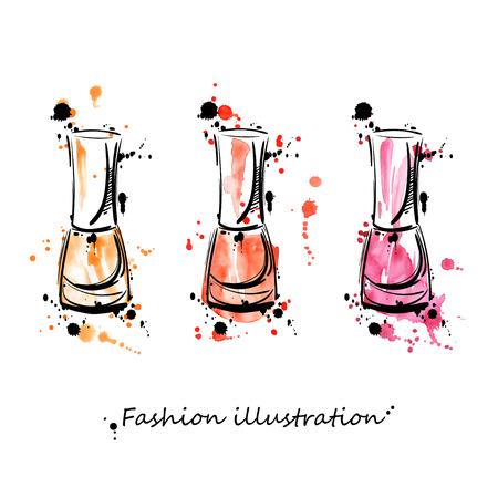 illustration de vernis à ongles. Fashion illustration. Beauté et de la mode. Aquarelle. Vecteurs