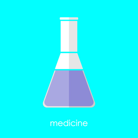 absract: Flat linear beaker icon. Isolate on white background. Medicine and science. Chemistry and biology. Flask. Illustration