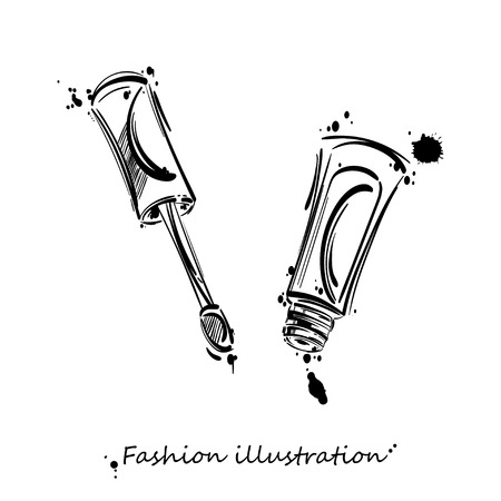 lip gloss: abstract illustration of lip gloss. Beauty and fashion. Beauty saloon. Isolate on white background. Illustration