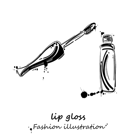 gloss: abstract illustration of lip gloss. Beauty and fashion. Beauty saloon. Isolate on white background. Illustration