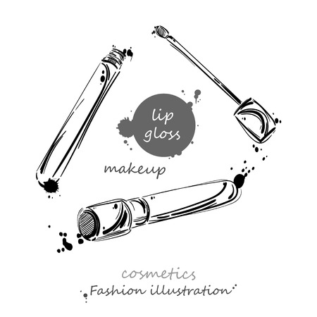 lip gloss: abstract illustration of lip gloss. Beauty and fashion. Beauty saloon. Isolate on white background. Set